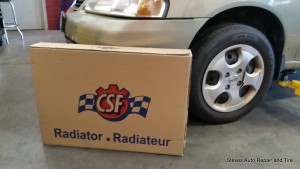 Radiator for a Nissan from an aftermarket parts supplier